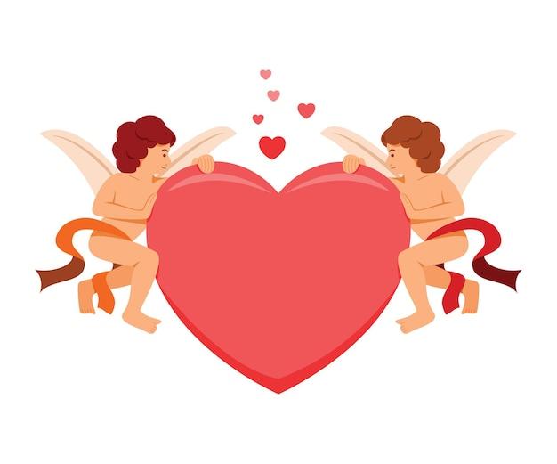 O cupido segura os dois lados do coração grande para a decoração do dia dos namorados.