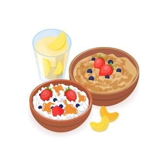 O delicioso café da manhã consistia em mingau, queijo cottage com frutas vermelhas