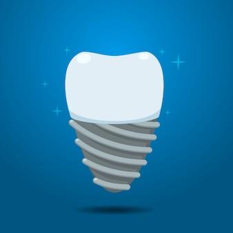 O dente do implante brilhante. ilustração vetorial isolado