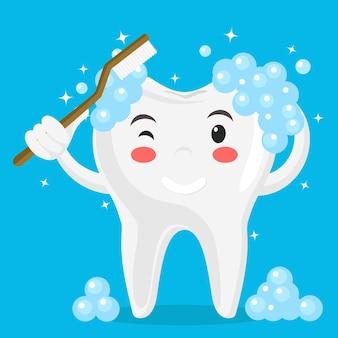 O dente se lava com uma escova de dentes em azul.