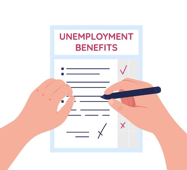 O desemprego beneficia a ilustração plana. seguros e assistência com previdência.