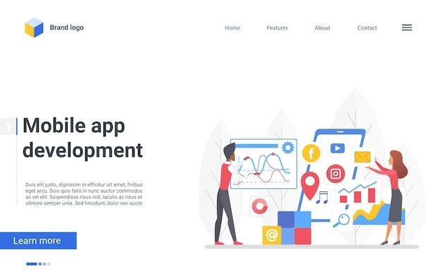 O desenhista de páginas de destino de desenvolvimento de aplicativos móveis que as pessoas criam, desenvolvem, gerenciam dados, gerenciam dados