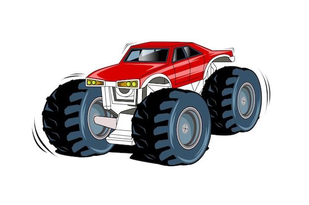 O desenho à mão da ilustração do grande caminhão monstro vermelho