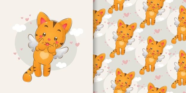 O desenho a mão dos gatos fofos com as asinhas no conjunto padrão de ilustração