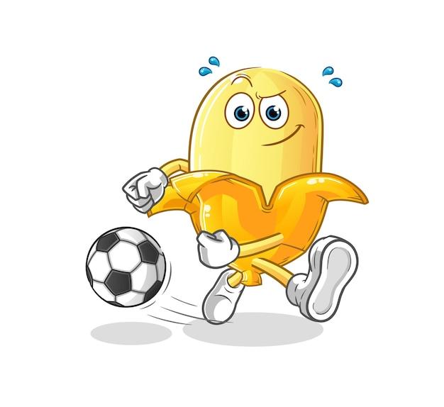 O desenho animado da banana chutando a bola. mascote dos desenhos animados
