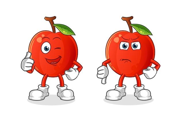 O desenho animado da cereja com o polegar para cima e o polegar para baixo. mascote dos desenhos animados
