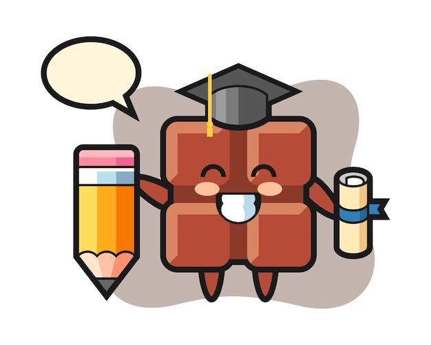 O desenho animado da ilustração da barra de chocolate é a graduação com um lápis gigante, estilo kawaii bonito.