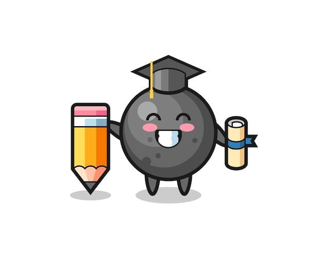 O desenho animado da ilustração da bola de canhão é a graduação com um lápis gigante, design de estilo fofo para camiseta, adesivo, elemento de logotipo