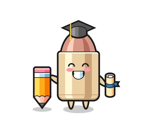 O desenho animado da ilustração de bala é a graduação com um lápis gigante, design de estilo fofo para camiseta, adesivo, elemento de logotipo