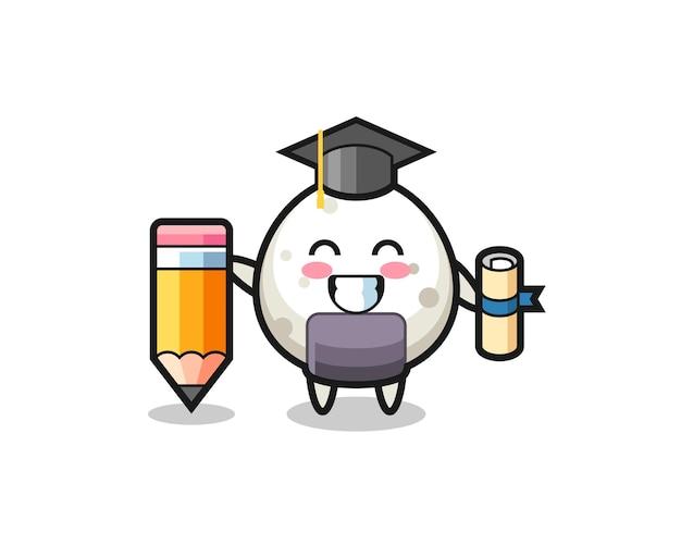 O desenho animado da ilustração de onigiri é a formatura com um lápis gigante, design de estilo fofo para camiseta, adesivo, elemento de logotipo