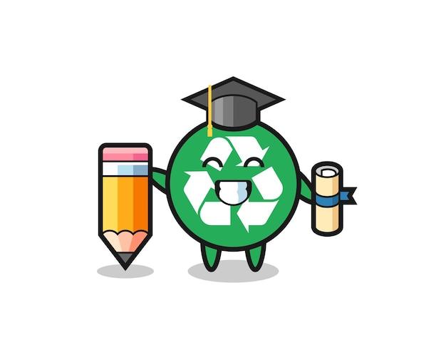 O desenho animado da ilustração de reciclagem é a formatura com um lápis gigante, design fofo