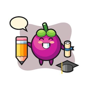 O desenho animado da ilustração do mangostão é a graduação com um lápis gigante, design de estilo fofo para camiseta, adesivo, elemento de logotipo