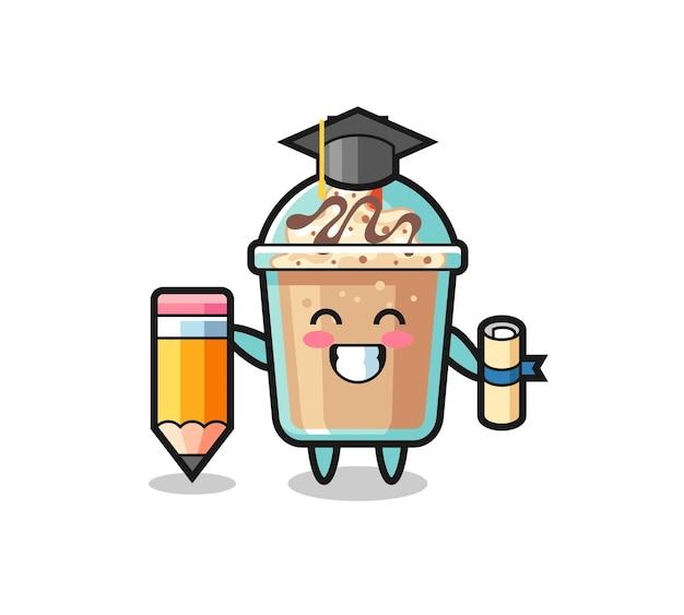 O desenho animado da ilustração do milk-shake é a graduação com um lápis gigante, design de estilo fofo para camiseta, adesivo, elemento de logotipo