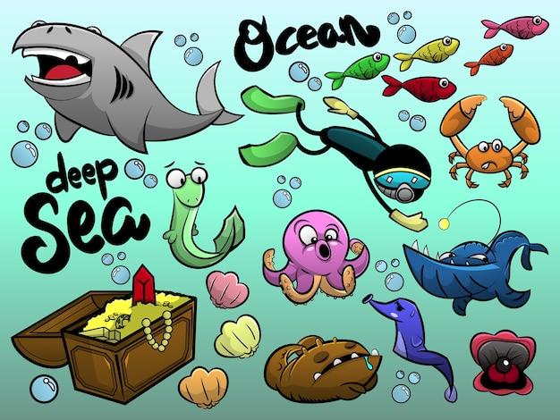 O desenho animado da vida marinha