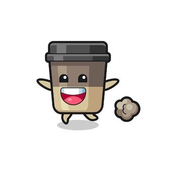 O desenho animado da xícara de café feliz com pose de corrida, design de estilo fofo para camiseta, adesivo, elemento de logotipo