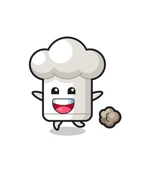 O desenho animado de chapéu de chef feliz com pose de corrida, design de estilo fofo para camiseta, adesivo, elemento de logotipo