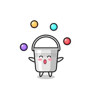 O desenho animado de circo com balde de metal fazendo malabarismo com uma bola, design de estilo fofo para camiseta, adesivo, elemento de logotipo