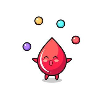 O desenho animado de circo de gota de sangue fazendo malabarismo com uma bola, design de estilo fofo para camiseta, adesivo, elemento de logotipo