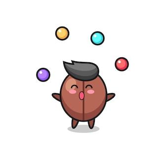 O desenho animado de circo de grãos de café fazendo malabarismo com uma bola, design de estilo fofo para camiseta, adesivo, elemento de logotipo