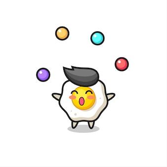 O desenho animado de ovo frito fazendo malabarismo com uma bola, design de estilo fofo para camiseta, adesivo, elemento de logotipo