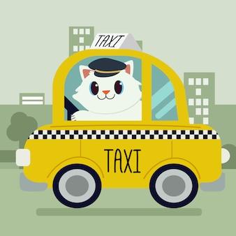 O desenho animado de personagem de gato bonito dirigindo um carro de táxi.