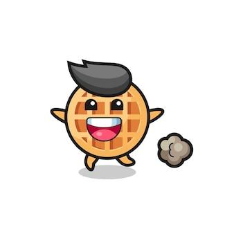 O desenho animado de waffle de círculo feliz com pose de corrida, design fofo