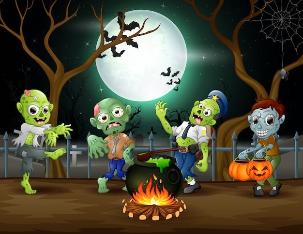 O desenho animado de zumbis está preparando uma poção na noite de halloween