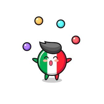 O desenho animado do circo com a bandeira da itália fazendo malabarismo com uma bola, design de estilo fofo para camiseta, adesivo, elemento de logotipo