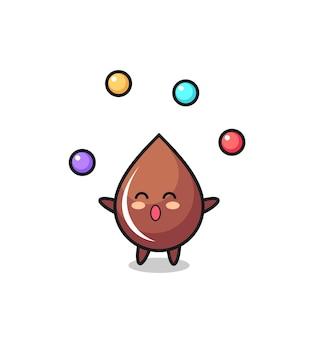 O desenho animado do circo com gotas de chocolate fazendo malabarismo com uma bola, design de estilo fofo para camiseta, adesivo, elemento de logotipo