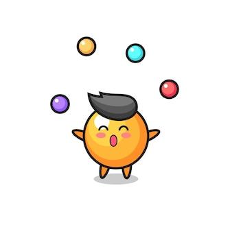 O desenho animado do circo da bola de pingue-pongue fazendo malabarismo com uma bola, design de estilo fofo para camiseta, adesivo, elemento de logotipo