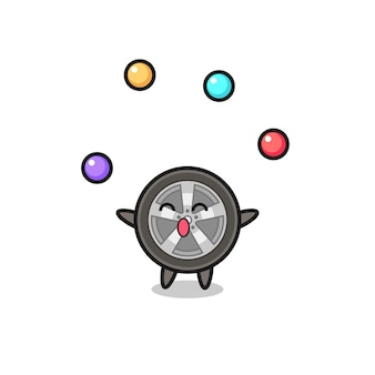 O desenho animado do circo da roda do carro fazendo malabarismo com uma bola, design de estilo fofo para camiseta, adesivo, elemento de logotipo
