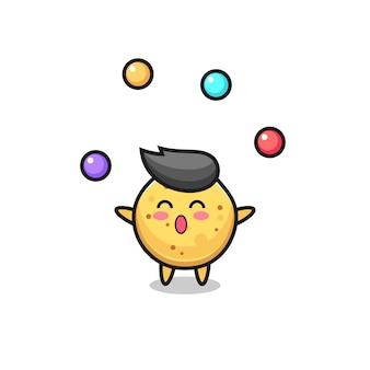 O desenho animado do circo das batatas fritas fazendo malabarismo com uma bola, design fofo