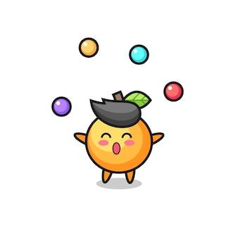 O desenho animado do circo de frutas laranja fazendo malabarismo com uma bola, design de estilo fofo para camiseta, adesivo, elemento de logotipo