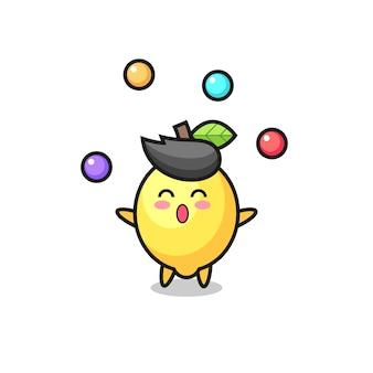 O desenho animado do circo de limão fazendo malabarismo com uma bola, design de estilo fofo para camiseta, adesivo, elemento de logotipo