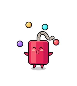 O desenho animado do circo dinamite fazendo malabarismos com uma bola, design de estilo fofo para camiseta, adesivo, elemento de logotipo
