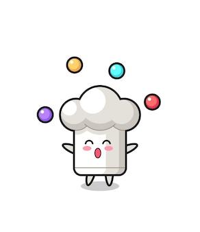 O desenho animado do circo do chapéu do chef fazendo malabarismo com uma bola, design de estilo fofo para camiseta, adesivo, elemento de logotipo