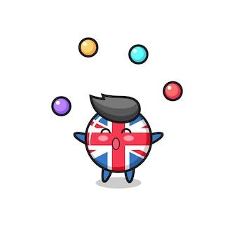 O desenho animado do circo do distintivo da bandeira do reino unido fazendo malabarismo com uma bola, design de estilo fofo para camiseta, adesivo, elemento de logotipo