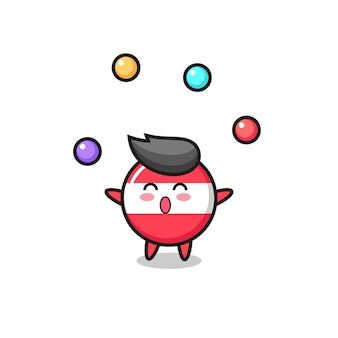 O desenho animado do circo do emblema da bandeira da áustria fazendo malabarismo com uma bola, design de estilo fofo para camiseta, adesivo, elemento de logotipo