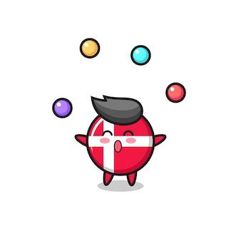 O desenho animado do circo do emblema da bandeira da dinamarca fazendo malabarismos com uma bola, design de estilo fofo para camiseta, adesivo, elemento de logotipo