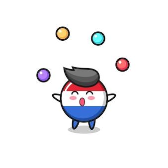 O desenho animado do circo do emblema da bandeira da holanda fazendo malabarismo com uma bola, design de estilo fofo para camiseta, adesivo, elemento de logotipo