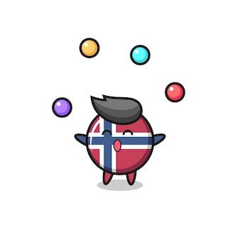 O desenho animado do circo do emblema da bandeira da noruega fazendo malabarismo com uma bola, design de estilo fofo para camiseta, adesivo, elemento de logotipo