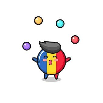 O desenho animado do circo do emblema da bandeira da romênia fazendo malabarismo com uma bola, design de estilo fofo para camiseta, adesivo, elemento de logotipo