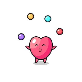 O desenho animado do circo do símbolo do coração fazendo malabarismo com uma bola, design de estilo fofo para camiseta, adesivo, elemento de logotipo