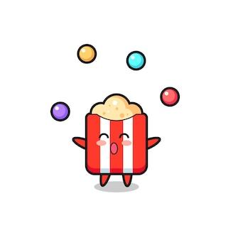 O desenho animado do circo pipoca fazendo malabarismo com uma bola, design de estilo fofo para camiseta, adesivo, elemento de logotipo