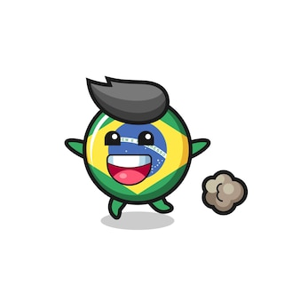 O desenho animado do distintivo da bandeira do brasil feliz com pose de corrida, design de estilo fofo para camiseta, adesivo, elemento de logotipo