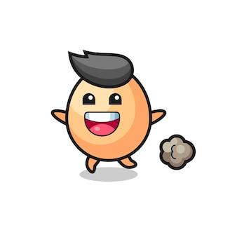 O desenho animado do ovo feliz com pose de corrida, design de estilo fofo para camiseta, adesivo, elemento de logotipo