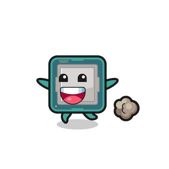 O desenho animado do processador feliz com pose de corrida, design de estilo fofo para camiseta, adesivo, elemento de logotipo
