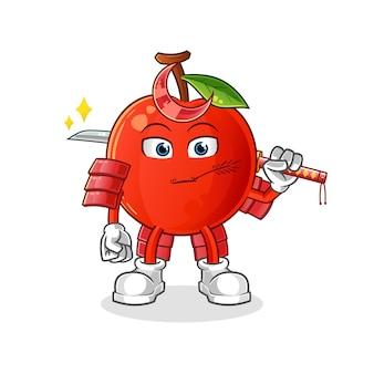 O desenho animado do samurai cherry. mascote dos desenhos animados
