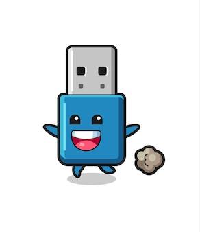 O desenho animado do usb flash drive feliz com pose de corrida, design de estilo fofo para camiseta, adesivo, elemento de logotipo
