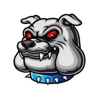 O desenho da cabeça do bulldog com os olhos vermelhos e usando o colar azul como mascote